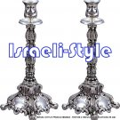 02922 - PAIR SILVER PLATED 2 INDIVDUAL SHABAT CANDLE HOLDER /CANDELSTICKS 35 CM .