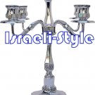 40019 - BRASS SILVER PLATED CANDLE STICKS CANDLE HOLDER- 5 BRANCH 35CM .