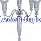 41549 - NICKEL 5 BRANCH CANDLESTICKS 32 CM