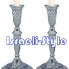 41554 - PAIR NICKEL CANDLESTICKS 27 CM: JERUSALEM