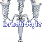 41557 - NICKEL 5 BRANCH CANDLESTICKS 27 CM
