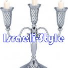 41559 - NICKEL 3 BRANCH CANDLESTICKS 27 CM: DIAMONDS