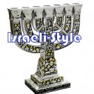 57122 - BRASS JERUSALEM MENORAH + BASE .