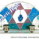 83854 - GLASS CANDLESTICKS - MAGEN DAVID CANDLE HOLDERS