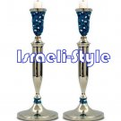 84928 - NICKEL CANDLESTICKS, BLUE FIMO DECORATION- 32 CM