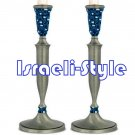 84931 - PAIR 'PEWTER CANDLESTICKS, BLUE FIMO DECORATION- 32 CM
