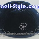 10213 - SET OF 10PCS, 20CM BLUE VELVET KIPPAH FLOWERS/ KIPA / YARMULKE /KIPPA