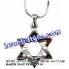 9156 - RHODIUM MAGEN DAVID PENDANT  Judaica GIFT from Israel.
