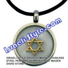 9304 - STAINLESS STEEL PENDANT, RUBBER CHAIN- MAGEN DAVID STONE , JUDAICA GIFT FROM ISRAEL