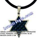 9309 - STAINLESS STEEL PENDANT, RUBBER CHAIN- BLUE MAGEN DAVID 2 CM, JUDAICA GIFT FROM ISRAEL