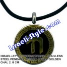 9319 - STAINLESS STEEL PENDANT, RUBBER CHAIN- GOLDEN CHAI, 2. 8 CM, JUDAICA GIFT FROM ISRAEL