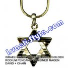 9331 - GOLDEN RODIUM PENDANT- COMBINED MAGEN DAVID + CHAIN, JUDAICA GIFT FROM ISRAEL