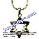 9331 - GOLDEN RODIUM PENDANT- COMBINED MAGEN DAVID + CHAIN, JUDAICA GIFT FROM ISRAEL