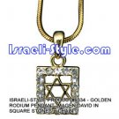 9334 - GOLDEN RHODIUM PENDANT- MAGEN DAVID IN SQUARE STONES + CHAIN, JUDAICA GIFT FROM ISRAEL