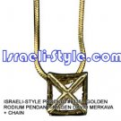 9335 - GOLDEN RHODIUM PENDANT- MAGEN DAVID MERKAVA + CHAIN, JUDAICA GIFT FROM ISRAEL