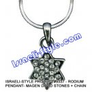 9337 - RHODIUM PENDANT- MAGEN DAVID STONES + CHAIN, JUDAICA GIFT FROM ISRAEL