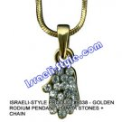 9338 - GOLDEN RHODIUM PENDANT- HAMSA STONES + CHAIN, JUDAICA GIFT FROM ISRAEL