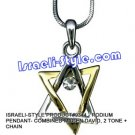 9344 - RHODIUM PENDANT- COMBINED MAGEN DAVID, 2 TONE + CHAIN, JUDAICA GIFT FROM ISRAEL