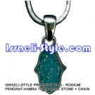 9345 - RHODIUM PENDANT-HAMSA TURQUOISE STONE + CHAIN, JUDAICA GIFT FROM ISRAEL