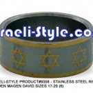 9358 - SET OF 6 PCS, STAINLESS STEEL RING- GOLDEN MAGEN DAVID SIZES 17-20 (6)JUDAICA