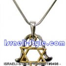 9498 - RHODIUM PENDANT SILVER HAMSA WITH GOLDEN M. DAVID, 2. 5 CM, JUDAICA GIFT FROM ISRAEL