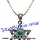 9500 - RHODIUM PENDANT MAGEN DAVID AND HAMSA WITH TURQUOISE STONE, 2 CM, JUDAICA GIFT FROM ISRAEL