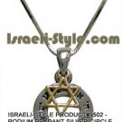 "9502 - RHODIUM PENDANT SILVER CIRCLE WITH GOLDEN M. DAVID ""SHMA ISRAEL"" 1. 5 CM, JUDAICA GIFT"