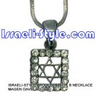 9607 - NECKLACE MAGEN DAVID SQUARE, JUDAICA GIFT FROM ISRAEL