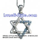 9678 - NECKLACE MAGEN DAVID W/STONES, JUDAICA GIFT FROM ISRAEL