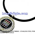 "86643 - STAINLESS STEEL PENDANT- ""HOSHEN"" WITH CIRCLE, JUDAICA GIFT FROM ISRAEL"