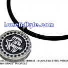 "86644 - STAINLESS STEEL PENDANT- ""SHEMA ISRAEL"" IN CIRCLE, JUDAICA GIFT FROM ISRAEL"