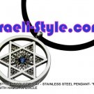 "86647 - STAINLESS STEEL PENDANT- ""MAGEN DAVID"" WITH HAMSA IN CIRCLE, JUDAICA GIFT FROM ISRAEL"