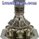 "40007 - BRASS WINE FOUNTAIN / WINE DIVIDER ""THE BIBLE RIVERS"" DIVIDER + 8CUPS, JUDAIKA GIFT ISRAEL"