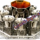 "FREE SHIPPING! 41310 - BRASS SET 8 CUP + ""BIBLE RIVERS"" KIDDUSH CUP + TRAY NIKEL"