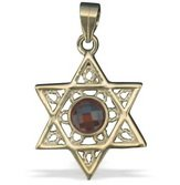 FREE SHIPPING!!90002-GOLD FILLED PENDANT- FILIGREE MAGEN DAVID ORANGE STONE/ jewelry