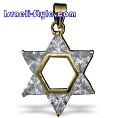 FREE SHIPPING!! 90020-STONES+GOLD FILLED MAGEN DAVID /star of david,hebrew jewelry judaica CHAI