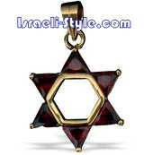 FREE SHIPPING!! 90033-RED STONES,GOLD FILLED MAGEN DAVID /star of david,hebrew jewelry judaica CHAI
