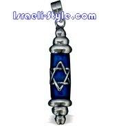 FREE SHIPPING!! 90037-GOLDFILD PENDANT- MEZUZAH BLUE MAGEN DAVID /hebrew jewelry judaica