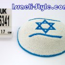 LOT OF 5 PCS,16341 -KNITTED KIPPAH/KIPA YARMULKE L. BLUE ISRAEL FLAG 17CM star of david