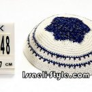 free shipping!!LOT OF 5PCS 12448 -KIPPAH 17CM ROUND BLUE + SILVER YARMULKE/KIPPAH
