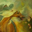 """original Israeli scene oil painting on canvas """"Amona evacuated"""" by Iris Vexler Tamir"""