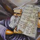 Judaica bible lithograph by iris vexler tamir: moses brings the Ten Commandments at mount sinai
