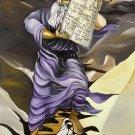 Judaica bible lithograph by iris vexler tamir: moses brings the Ten Commandments at mount sinai