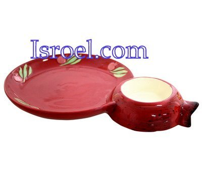 "87203 -CERAMIC APPLE & HONEY DISH ""POMEGRANATE"", 25X17CM  ROSH HASHANA GIFT"