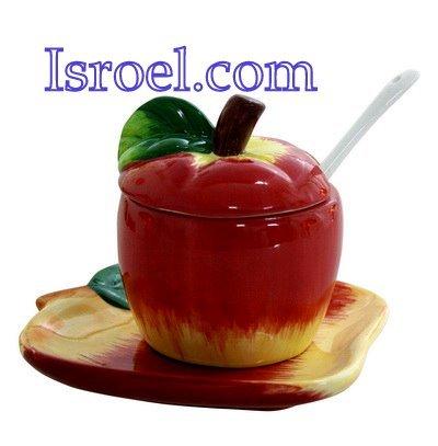 "NUEVO 87208 - Rosh Hashana regalo,CER�MICA DE MIEL DISH PLATE ""APPLE"" 9x8cm"