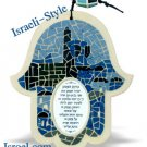 85359 - MOSAIC HAMSA GOD BLESS. BLUE DAVID 14CM. CHAMSA GIFT FROM ISROEL.COM / ISRAELI-STYLE