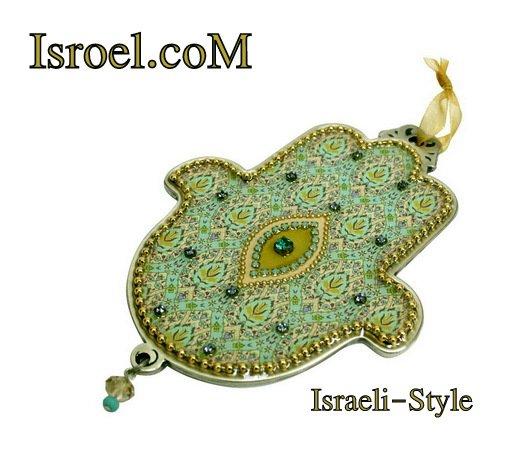 73955 - PEWTER HAMSA 12 CM, HAND DECORATED- GIFT BY ISROEL.COM