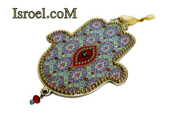 73956 - PEWTER HAMSA 12 CM, HAND DECORATED-CHAMSA GIFT BY ISROEL.COM