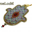73956 - PEWTER HAMSA 12 CM, HAND DECORATED-CHAMSA GIFT BY ISROEL.COM