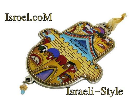 73958 - PEWTER HAMSA 12 CM, HAND DECORATED-CHAMSA GIFT BY ISROEL.COM